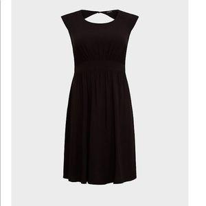 Black Challis Skater Dress